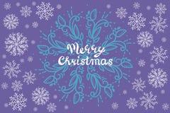 Ανασκόπηση Χριστουγέννων με snowflakes και θέση για το κείμενο Χειμερινά άσπρη, μπλε snowflakes ελάχιστη διακόσμηση στο λευκό, ευ απεικόνιση αποθεμάτων