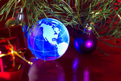 Ανασκόπηση Χριστουγέννων της Βόρειας Αμερικής γήινων σφαιρών Στοκ φωτογραφία με δικαίωμα ελεύθερης χρήσης
