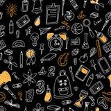ανασκόπηση doodle άνευ ραφής Σχολικό σχέδιο με συρμένες τις χέρι προμήθειες επίσης corel σύρετε το διάνυσμα απεικόνισης Στοκ εικόνες με δικαίωμα ελεύθερης χρήσης