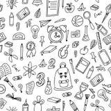 ανασκόπηση doodle άνευ ραφής Σχολικό σχέδιο με συρμένες τις χέρι προμήθειες επίσης corel σύρετε το διάνυσμα απεικόνισης Στοκ Εικόνα