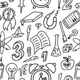 ανασκόπηση doodle άνευ ραφής Σχολικό σχέδιο με συρμένες τις χέρι προμήθειες επίσης corel σύρετε το διάνυσμα απεικόνισης Στοκ Φωτογραφία