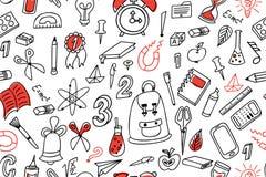 ανασκόπηση doodle άνευ ραφής Σχολικό σχέδιο με συρμένες τις χέρι προμήθειες επίσης corel σύρετε το διάνυσμα απεικόνισης Στοκ φωτογραφία με δικαίωμα ελεύθερης χρήσης