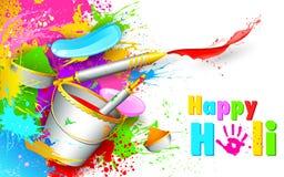 Ανασκόπηση Holi με τον κάδο του χρώματος ελεύθερη απεικόνιση δικαιώματος