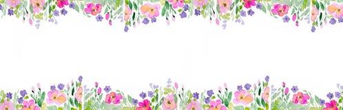 Ανασκόπηση Watercolor με τα λουλούδια στοκ εικόνα