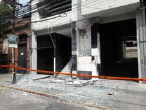 Αναστατωμένα καταστήματα στο avenida Medellin κατά τη διάρκεια του σεισμού της Πόλης του Μεξικού Στοκ φωτογραφίες με δικαίωμα ελεύθερης χρήσης
