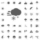 Αναταραχή και σύννεφο με το εικονίδιο χιονιού Καιρικά διανυσματικά εικονίδια καθορισμένα Στοκ Εικόνα