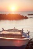 ανατολή αλιείας βαρκών Στοκ Εικόνες