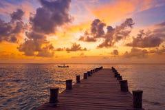 Ανατολή αποβαθρών της Maya Riviera καραϊβικό σε των Μάγια Στοκ εικόνα με δικαίωμα ελεύθερης χρήσης