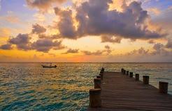 Ανατολή αποβαθρών της Maya Riviera καραϊβικό σε των Μάγια Στοκ Εικόνες