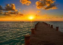 Ανατολή αποβαθρών της Maya Riviera καραϊβικό σε των Μάγια Στοκ Φωτογραφία