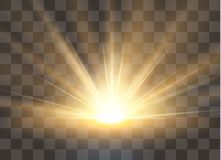 Ανατολή, αυγή Διανυσματικό διαφανές φως του ήλιου Ειδική ελαφριά επίδραση φλογών φακών διανυσματική απεικόνιση