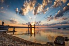 ανατολή λιμνών της Γενεύης Στοκ Εικόνες