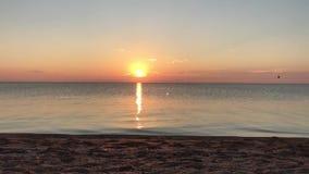 Ανατολή πέρα από την ήρεμη θάλασσα, ηλιόλουστος δρόμος απόθεμα βίντεο