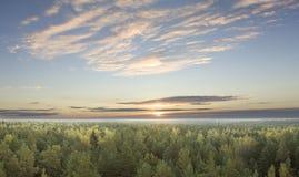 Ανατολή πέρα από το δάσος το φθινόπωρο. Στοκ Εικόνες