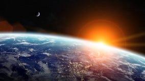 Ανατολή πέρα από το πλανήτη Γη στο διάστημα διανυσματική απεικόνιση