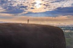 Ανατολή πρωινού και ομιχλώδης του βράχου δέντρων Στοκ εικόνες με δικαίωμα ελεύθερης χρήσης