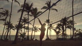 Ανατολή στην τροπική παραλία, φίλοι που παίζει την πετοσφαίριση παραλιών απόθεμα βίντεο