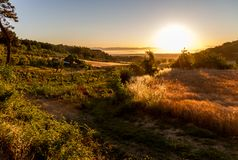 Ανατολή στη Tuscan επαρχία Στοκ φωτογραφία με δικαίωμα ελεύθερης χρήσης