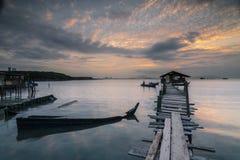 Ανατολή στο λιμενοβραχίονα περιστεριών Στοκ Εικόνες