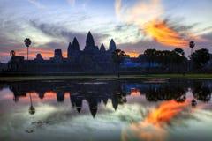 Ανατολή στο ναό angkor wat Στοκ εικόνα με δικαίωμα ελεύθερης χρήσης