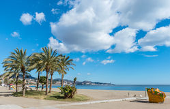 Ανατολή Maritimo Πικάσο Paseo από το λιμάνι της Μάλαγας Στοκ εικόνα με δικαίωμα ελεύθερης χρήσης