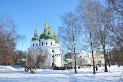 Ανατολικοί ορθόδοξοι σταυροί στους χρυσούς θόλους - εκκλησία του Άγιου Βασίλη σε Nizhyn, Ουκρανία Ουκρανικό μπαρόκ ή Cossack μπαρ Στοκ εικόνα με δικαίωμα ελεύθερης χρήσης