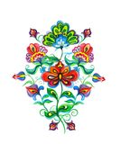 Ανατολικο-ευρωπαϊκά διακοσμητικά εθνικά λουλούδια watercolor στοκ φωτογραφίες