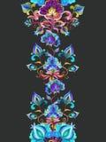 Ανατολικο-ευρωπαϊκό floral ντεκόρ - διακοσμητικά λουλούδια στο σκοτεινό υπόβαθρο floral άνευ ραφής συνόρων Λωρίδα Watercolor απεικόνιση αποθεμάτων