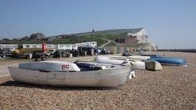 Ανατολικό Σάσσεξ Seaford με seagulls τη βάρκα και τους λευκούς απότομους βράχους κιμωλίας και τους επισκέπτες που περπατούν στην  απόθεμα βίντεο