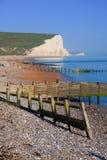 Ανατολικό Σάσσεξ UK επτά αδελφών απότομων βράχων κιμωλίας από την παραλία λιμανιών Cuckmere Στοκ Εικόνα