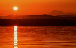 Ανατολή από Anacortes, πολιτεία της Washington Στοκ εικόνα με δικαίωμα ελεύθερης χρήσης