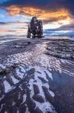 Ανατολή βράχου Hvitserkur, Ισλανδία Στοκ φωτογραφία με δικαίωμα ελεύθερης χρήσης