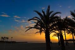 Ανατολή μεσογειακή Ισπανία παραλιών EL Arenal Javea Στοκ Εικόνες