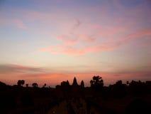Ανατολή ναών Wat Angkor Στοκ Φωτογραφία
