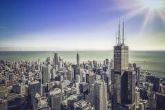 Ανατολή πέρα από την οικονομική κεραία περιοχής του Σικάγου στοκ φωτογραφία με δικαίωμα ελεύθερης χρήσης