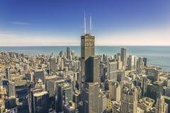 Ανατολή πέρα από την οικονομική κεραία περιοχής του Σικάγου στοκ φωτογραφία