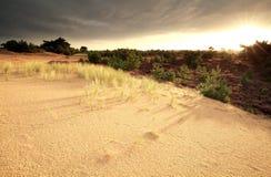 Ανατολή πέρα από τον αμμόλοφο άμμου και το λαντ Στοκ Εικόνες