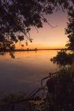 Ανατολή πέρα από τον ποταμό Ζαμβέζη στοκ εικόνες