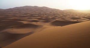 Ανατολή πέρα από τους αμμόλοφους άμμου ερήμων Σαχάρας στο Μαρόκο Στοκ φωτογραφία με δικαίωμα ελεύθερης χρήσης