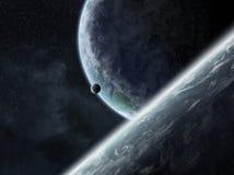 Ανατολή πέρα από τους πλανήτες στο διάστημα διανυσματική απεικόνιση