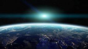 Ανατολή πέρα από το πλανήτη Γη στα διαστημικά τρισδιάστατα δίνοντας στοιχεία αυτού απεικόνιση αποθεμάτων