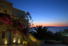 Ανατολή παραμυθιού σε Kamari, Santorini Στοκ εικόνα με δικαίωμα ελεύθερης χρήσης