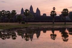 Ανατολή σε Angkor Wat, μια περιοχή κληρονομιάς της ΟΥΝΕΣΚΟ στην Καμπότζη Στοκ εικόνα με δικαίωμα ελεύθερης χρήσης