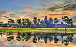 Ανατολή σε Angkor Wat, μια περιοχή παγκόσμιων κληρονομιών της ΟΥΝΕΣΚΟ στην Καμπότζη Στοκ Εικόνα