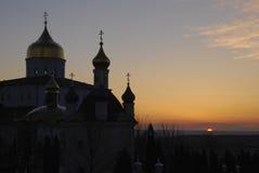 Ανατολή σε Pochaev Lavra, περιοχή Ternopil, της Ουκρανίας Στοκ εικόνα με δικαίωμα ελεύθερης χρήσης