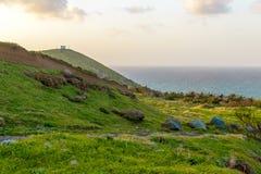 Ανατολή στα βουνά και τον ωκεανό στο νησί της Μαδέρας, Πορτογαλία Στοκ Εικόνες