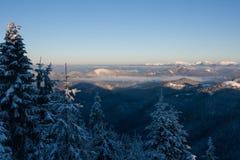Ανατολή στα χειμερινά βουνά - μεγαλύτερο Fatra, Σλοβακία Στοκ Εικόνες