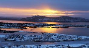 Ανατολή στην Ισλανδία Στοκ Φωτογραφίες