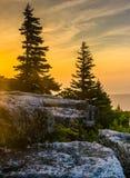 Ανατολή στην κονσέρβα βράχων αρκούδων, στην αγριότητα γρασιδιών της Dolly, Monon Στοκ Φωτογραφία
