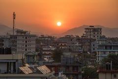 Ανατολή στην πόλη pokhara, Νεπάλ Στοκ Εικόνες
